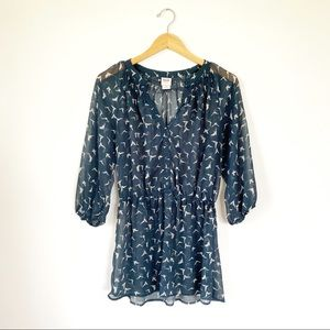 Mossimo Sheer Bird Print Cinched Blouse Size Large